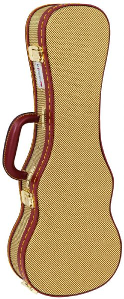 Kinsman KUX12 Deluxe Wooden Gold Tweed Concert Ukulele Case - TWEED